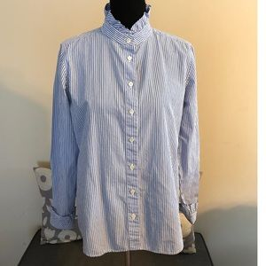 J Crew Blue and White Striped Top Size 12